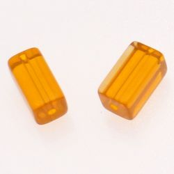 Perle en verre tube rectangulaire 16x8x8mm couleur orange transparent (x 2)