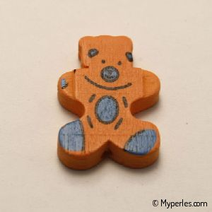 Perles en bois forme d'ourson 28x23mm orange (x 1)