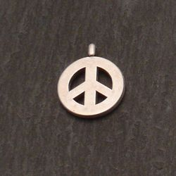 Perle en métal breloque forme symbole peace and love Ø15mm couleur Argent (x 1)