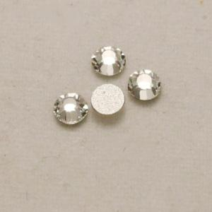 Strass 3mm transparent fond gris opaque (x 4)