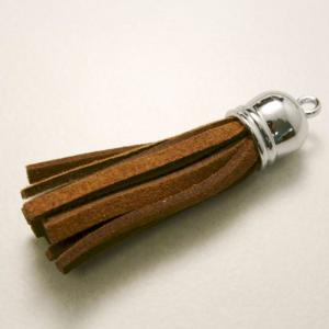Pampille daim 50x10mm couleur marron (x 1)