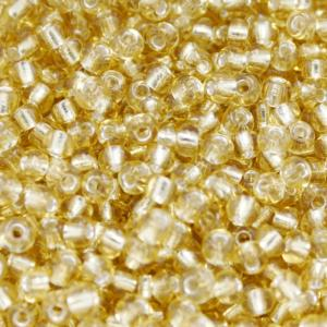 Perles de Rocaille 3mm couleur jaune or transparent trou argenté (x 20g)