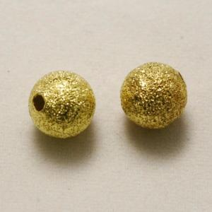 Perles en laiton strass paillette 6mm or (x 2)