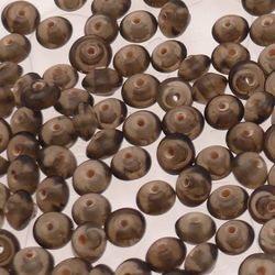 Perles en verre forme soucoupes Ø8mm couleur bronze transparent (x 10)