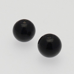 Perle en verre ronde Ø14mm couleur prune transparent (x 2)