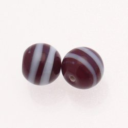 Perle en verre ronde Ø12mm rayures blanches sur fond chocolat opaque (x 2)