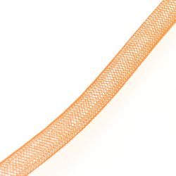 Ruban résille tubulaire diamètre 8mm couleur orange (x 1m)